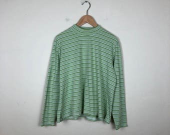 90s Striped Turtleneck Size XL, Green Striped Turtleneck