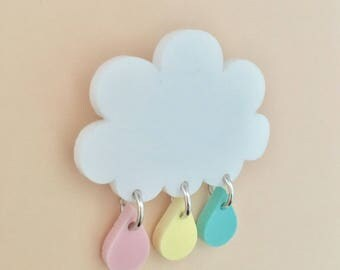 Raindrops Cloud Acrylic Brooch In Pastel