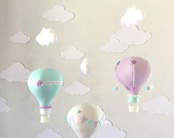 Mint and Lavender Hot Air Balloon Baby Mobile, hot air balloon decorations, hot air balloon nursery, Nursery Decor, Baby Shower Gift