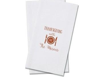 Thanksgiving Linen Like Dinner Guest Towel Napkins, Custom, Paper, Restroom, Personalized, Monogrammed, Linun, Vertical