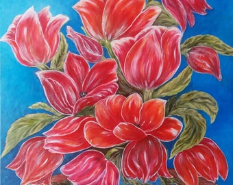 "Acrylic painting on canvas ""Bouquet of tulips"""
