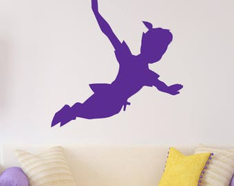 peter pan silhouette fantasy fairytale wall decals flying peter pan shadow wall decal vinyl sticker nursery