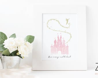 Cinderella Disney Castle Print with Quote 'Have Courage and Be Kind' featuring tinker bell - Pink or Blue Castle