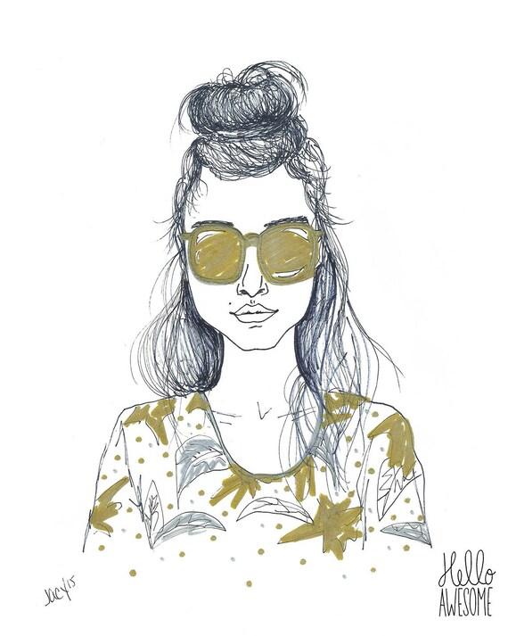 Palm Beauty Topknot Bun Modest Fashion Illustration 5x7 Print