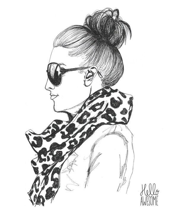 It's Time Topknot Bun Modest Fashion Illustration 5x7 Print