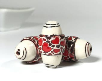 Red Brown White Oval Bead, Bead With Hearts, Art Beads, Love Beads, Handpainted Beads, Textured Boho Beads, Polymer Clay Beads, For Jewelry