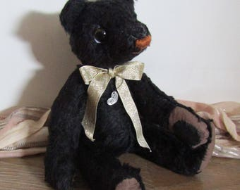 A Black Hand Crafted Mohair Artist Teddy Bear, Can Stand and is Fully Jointed*