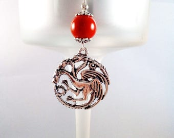 "Game of Thrones ""Targaryen Seal"" Silver Necklace Red Coral Plant"