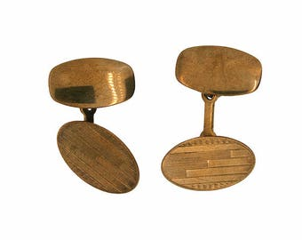 1920s Gilt Metal Geometric Design Vintage Cufflinks