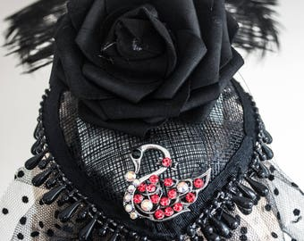 Victorian Gothic Fascinator with Vintage Jewellery, Veil and Black Pearls