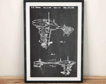 Star Wars Redemption Ship Lucasfilm Patent Art Poster