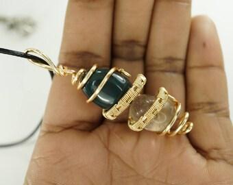 Bloodstone Smokey Quartz Chakra Gold Copper Pendant Necklace Wire Wrap