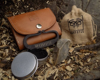 English Flint and Steel Fire Striker Traditional Hand Forged With Char Cloth, Emergency Tinder Jute Bag, and Tan Leather Pouch Gift Kit