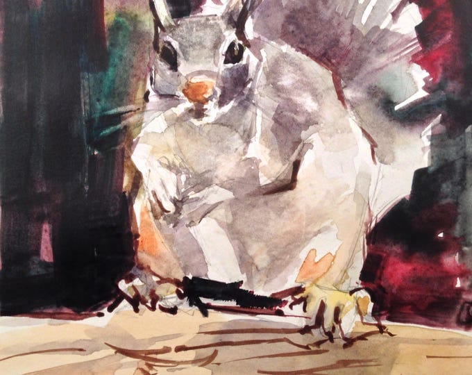 Watercolor Squirrel, 5x5 inches Under 60. Painting, Squirrel Painting, Squirrel Artwork, Brande Arno painting.