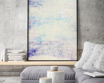 Abstract Minimalist Acrylic Painting, Print Giclee of Original Wall Art, Pink Beige Blue Wall Decor, Abstract landscape