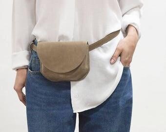 Belt bag leather brown, leather shoulder bag, leather waist bag, leather handmade belt bag, leather belt bag, Kroshka bag, wet sand