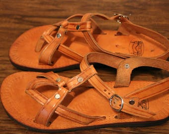 Women's Light Brown Leather Strappy Sandal w/ recycled tire sole