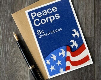 Peace corps card, peace corps stamp art, US flag card, US greeting cards, vintage birthday cards, peace corps gift, peace corps retirement