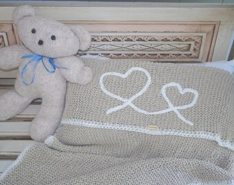 Lovely blanket from organic natural linen or merino wool