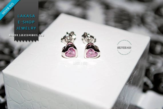 Heart studs Earrings Amethyst color Crystal Sterling Silver Rhodium plated Jewelry Valentine lovely gift for her Women Girls Moda Collection