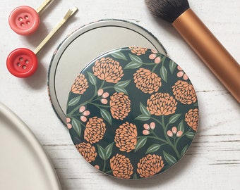 Pocket mirrors - compact mirror - 76mm pocket mirror - 4 designs - floral designs - floral accessories - pocket size accessories