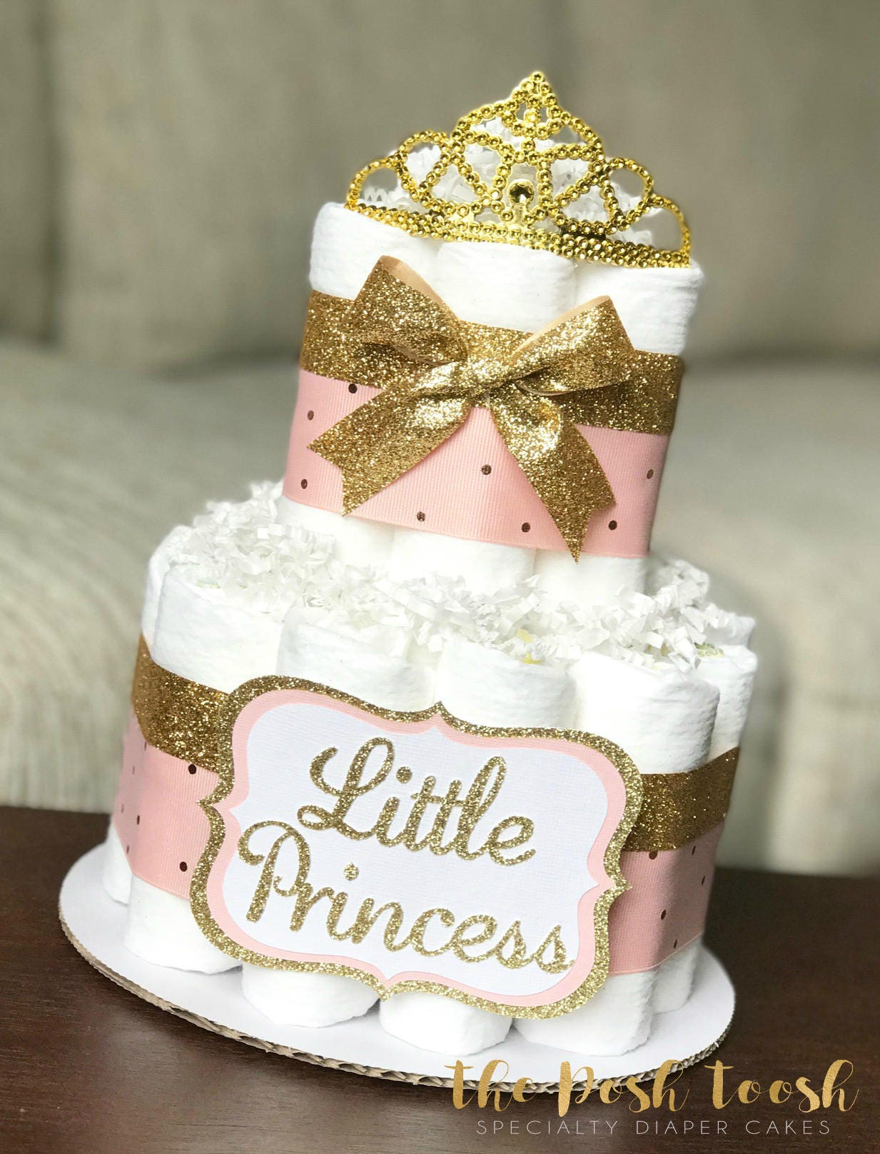 Pink and gold diaper cake baby shower centerpiece
