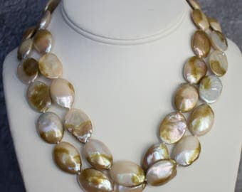 Exotic Fresh Water Coin Pearls with14k Gold Necklace.