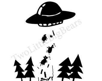 13 SVG/JPG UFO I want to believe Black and White Silhouette Hand Drawing