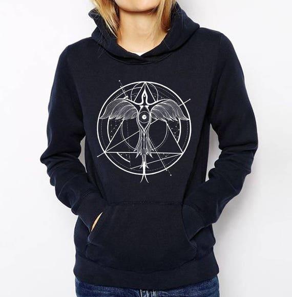 Phoenix ascending | Unisex Hoodie Sweatshirt | Geometrical drawing | Phoenix bird | Graphic shirt | Ink Tattoo style | Alchemy |ZuskaArt