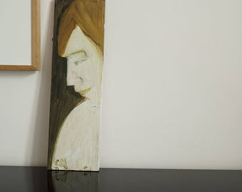 Painting on wood, decorative gift - naked torso blonde figure in profile