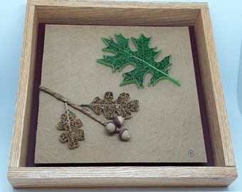 Quilled Leaf and Seed Series - Framed Paper Artistry - Oak