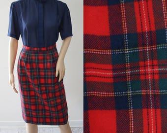 SALE - Perfect Vintage Red Tartan Midi Wool Skirt