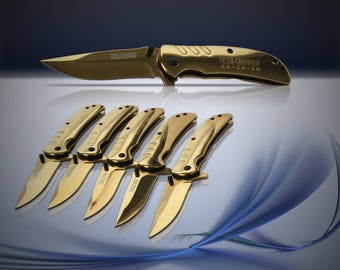 9 Groomsman engraved Knifes - 9 Personalized gifts - Usher & Officiant gift - Best Man engraved tactical knife - Wedding and Birthday gift