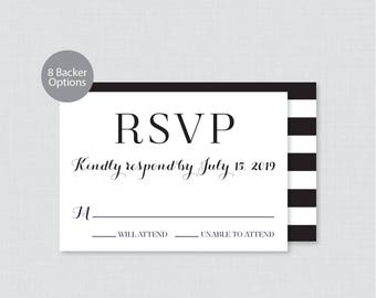 Printable OR Printed Wedding RSVP Cards - Black and White RSVP Wedding Cards, Calligraphy Wedding Response Cards Invitation Reply Cards 0005