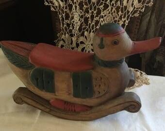 Vintage Primitive Hand Carved - Hand Painted Folk Art Rocking Duck Decoy/ Toy