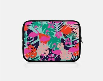 Flamingo Laptop Case, Flamingo Macbook Sleeve, Tropical Laptop Sleeve, Green Laptop Sleeve, Tropical Macbook Pro 15 inch, Pink Laptop Case