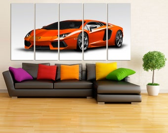 Orange Lamborghini Canvas Print, Lamborghini Poster, Large Lamborghini Wall Art,  Super Car Decor, Lamborghini Print, White Background MR06