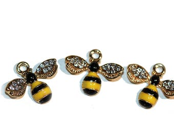 Charm Bumble Bee Charm Yellow and Black Enamel Honey Bee with Rhinestone Gold Tone Trim Bumble Bee Pendant Honey Bee with Crystals 3 Pieces