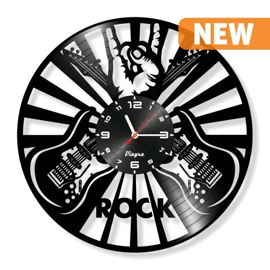 Rock music vinyl record clock guitar gift cut clock vinyl wall zoom amipublicfo Images