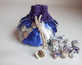 Dice Bag - Purple and White Scalemail D&D Pouch - Crocheted Coin Purse - Bag of Holding