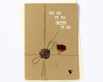 You Can Do It! Handmade Wax Seal Dried Flower Greetings Card