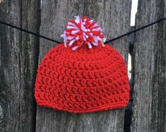 Team Baby Hat- Cardinals, Crocheted Baby Hat, Photo Prop, Baby Beanie