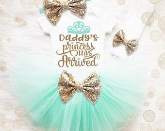 Baby Shower Gift Girl | Baby Girl Coming Home Outfit | Take Home Outfit | Daddy's Princess Has Arrived | Newborn Tutu Set | Mint And Gold
