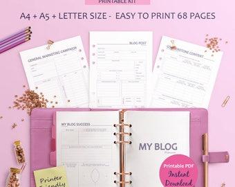 Printable Blog Planner, Blogging Planner, Blog Post Planning, Editorial Planner, Blog Post Planner, Blog Planner Pages, Social Media Planner