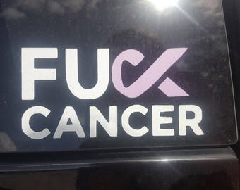 F*CK CANCER Decal - F Cancer Ribbon Decal - Cancer Support Decal