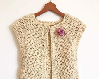 Short sleeve woman chunky cardigan