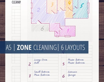 Zone Cleaning Planner / Cleaning Schedule / Printable Inserts / Flylady Control Journal / Home Cleaning Checklist / Home Management Planner