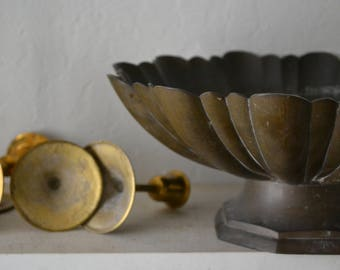 Brass Pedestal Bowl Scalloped Edge Dark Patina bohemian/mid century/eclectic/indian home/wedding decor