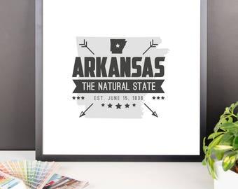 ARKANSAS State Badge Print, Arkansas Poster, Arkansas Wall Art, Arkansas Art, Arkansas Gift, Arkansas Decor, Arkansas Print, Arkansas