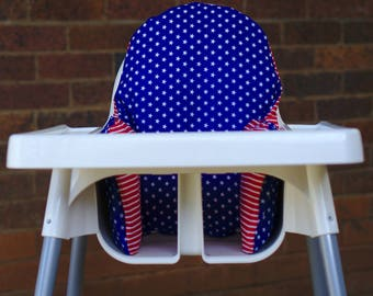 IKEA High Chair Cover To Fit Antilop Pyttig Cushion Insert - Highchair Decor - Stars & Stripes American Flag Style 4th of July Decoration